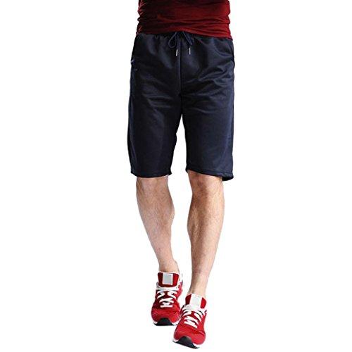 Pantalones Hombre,❤LMMVP❤Hombres verano playa deporte Running entrenamiento fitness gimnasio casual pantalones cortos (L, Armada)