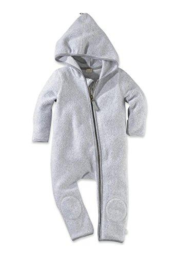 hessnatur Baby Mädchen und Jungen Unisex Fleece Overall aus Reiner Bio-Baumwolle Hellgrau 62/68