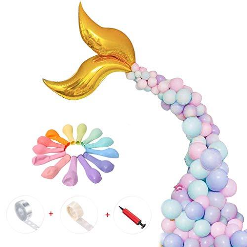 Amycute 104 Stück Meerjungfrau Thema Birthday Party Supplies Party Dekorationen Meerjungfrau Mylar Balloons,Farbige Ballons für Meerjungfrau Party Ariel Prinzessin Party Geburtstag Mädchen.