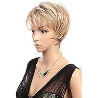 Prettyland C695 - Parrucca Corta Bionda Taglio Pixie Castano Chiaro   Biondo  Con Colpi di Sole e41f9726a066