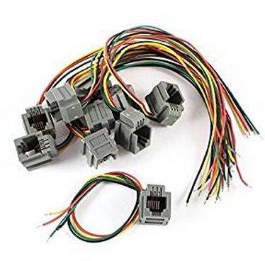 Kcopo Telefon Anschluss 6P4C RJ11 Weiblicher Telefon Stecker Adapter 10 Stück