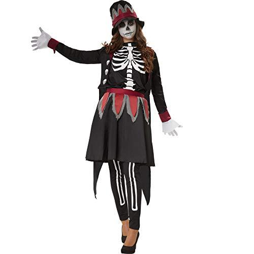 dressforfun 900510 - Damenkostüm gruselige Skull Lady, Vornehmes Kostüm im Skull-Look inkl. Hut mit Satinband (XL | Nr. 302415)