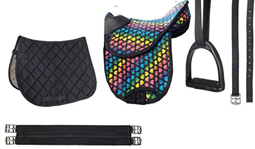 HKM Shettysattel-Set -Colourful-, Heart/Black, 12""