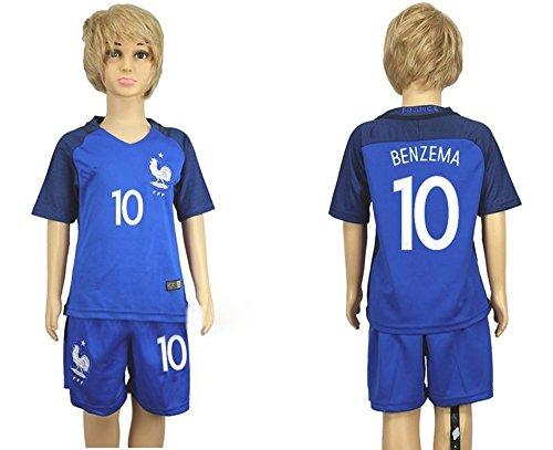 Top Venta de Francia 10Karim Benzema Home para niños Kid jóvenes Jersey de fútbol en azul, Infantil, azul, small