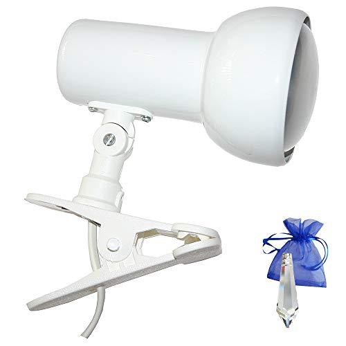 Klemmstrahler Weiß E27 Klemmlampe Klemmleuchte Spot Leselampe für LED und Glühlampe + Give-Away