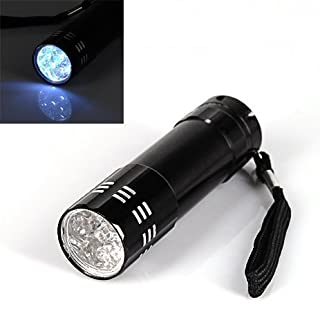 Accessotech 9 LED Bright Black Aluminum Flashlight Mini Small Torch Travel Camping Hiking