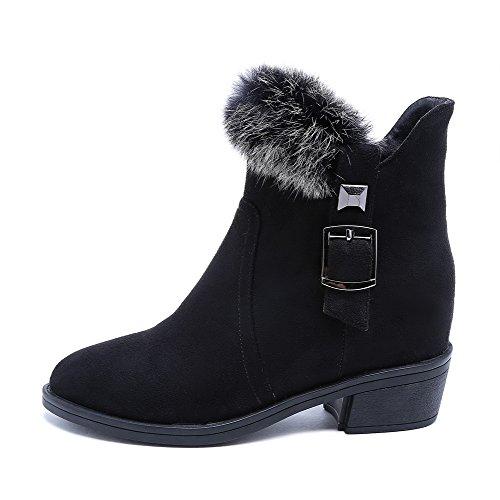 AgooLar Damen Blend-Materialien Schließen Zehe Stiefel Schwarz-Schnalle
