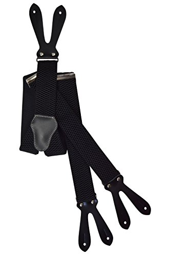 Button-Down Extra Wide Formal Dress Suspenders / Braces, 4cm - Black