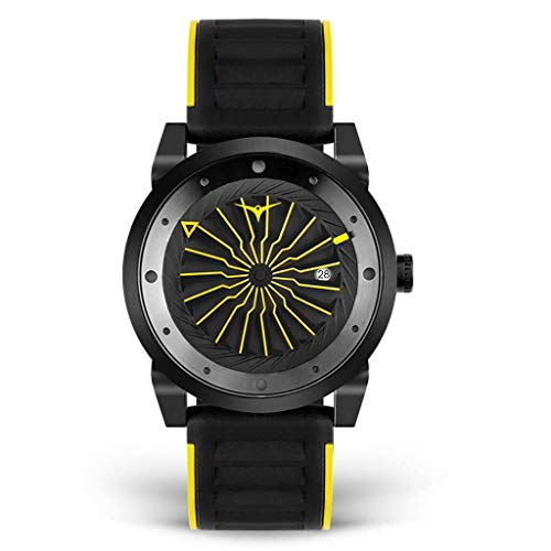 Zinvo Blade Stinger Turbina Automatico Acero Negro Fecha Silicona Hombre Reloj