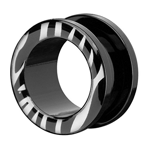 Piercingfaktor Flesh Tunnel Kuststoff Ohr Plug Schraub Piercing Ohrpiercing Tribal Schraubverschluss Schwarz Zebra Streifen Style 10mm -
