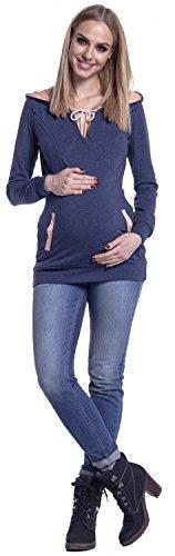 Happy Mama. Damen Top Kapuzenpullover Stillzeit Kontrastdetails. Taschen. 124p Blau Jeans
