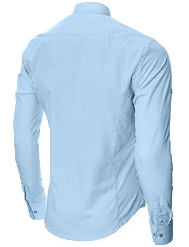 MODERNO Manches Longues Chemise Casual Homme (MOD1431) Bleu Ciel