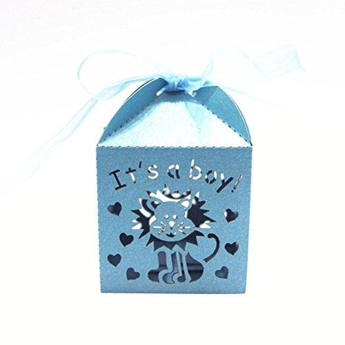 Pixnor 50pcs Baby doccia favori favore caramelle scatole regalo scatole It è un ragazzo stile