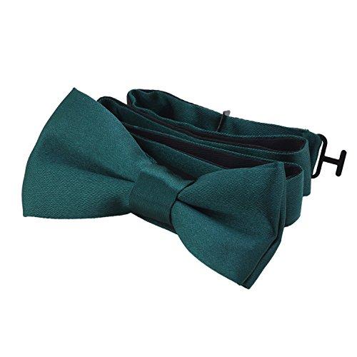 DonDon® Edle Kinder Fliege gebunden und längenverstellbar 9 x 4,5 cm dunkelgrün glänzend in Seiden Look (Grün Jungen Fliege)