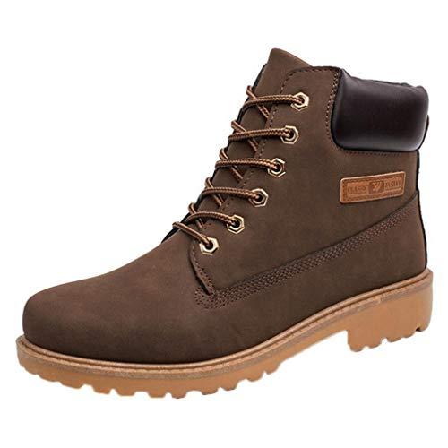 WWricotta Zapatillas Casual Hombres Botas Pieles de Caña Alta Moteras Moda Cómodas Calzado Andar Zapatos Planos Bambas con Cordones