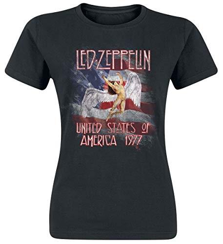 Led Zeppelin Stars n Stripes USA 77 Camiseta Mujer Negro S 2333217d146ba