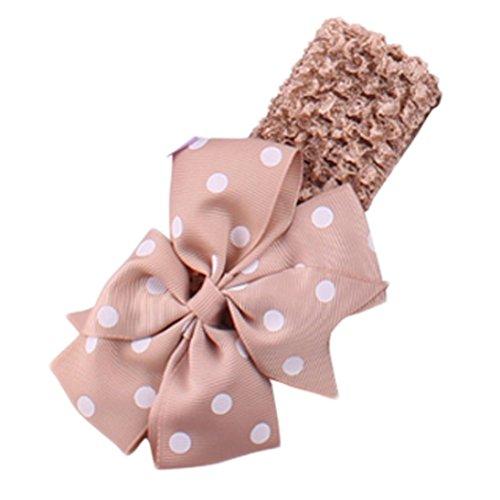 Handlife® Bébé Bandeau Mignon Fille Point Vague Fleur Nœud à deux boucles Cheveux Accessoires (Kaki)