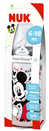 NUK First Choice Disney Mickey Minnie 300ml Bottle with 6-18mths Silicone Tea