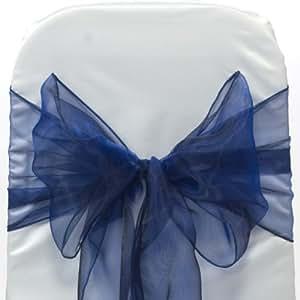 50Bleu marine nœuds rubans pour housse de chaise pour mariage et décoration de fête