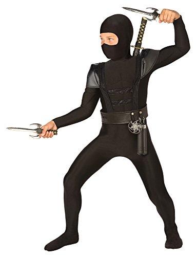 Schwarzes Ninja Bodysuit Kostüm - Kinder Kostüm - Large - 134 bis (Waffen Ninja Kostüme)