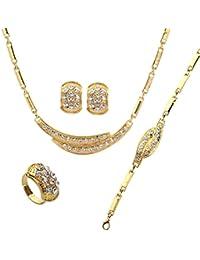 Pendientes del anillo Yazilind Rhinestone mujeres collar chapado en oro pulsera de la cáscara sistemas de la joyería Accesorios