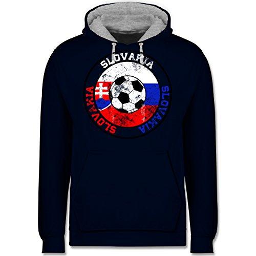 Fußball - Slovakia Kreis & Fußball Vintage - Kontrast Hoodie Dunkelblau/Grau meliert