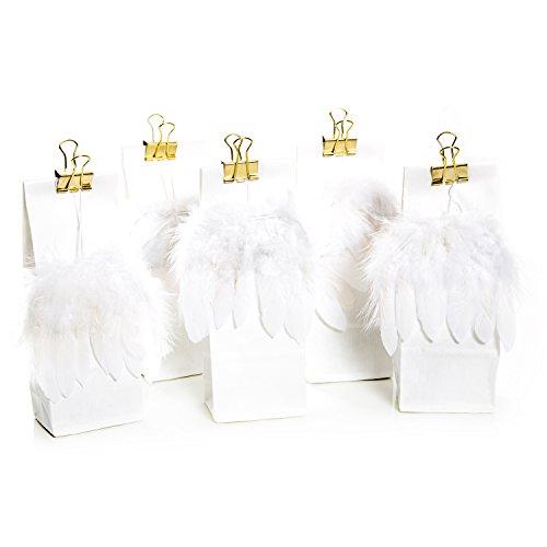 5 weiße Gastgeschenk Papiertüten mit Engels-Feder-Flügel und goldener Metallklammer Tüte 7 x 4 x 20,5 cm, lebensmittelecht!; Verpackung für Geschenke zu Weihnachten, Hochzeit, Kommunion -