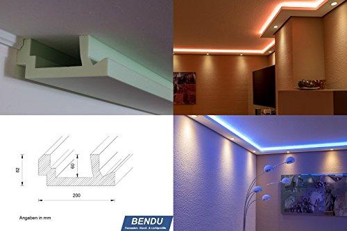 BENDU – Moderne LED Stuckleisten bzw. Lichtprofile für indirekte Wandbeleuchtung plus Deckenbeleuchtung. Ideal für den Einsatz z.B. im Schlafzimmer, Wohnzimmer oder Küche. Kombinierbar mit LED Flexband / Stripes und Spots bzw. LED Downlights. Lichtvoutenprofile aus Hartschaum WDML-200A-ST für die LED Beleuchtung von Wand und Decke. Qualität aus Österreich
