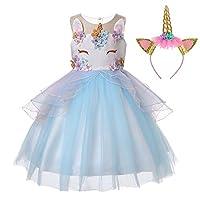 LZH Girl Unicorn Party Dress Flower Ruffles Cosplay Birthday Princess Christmas Halloween Dress ,5 Years ,453-blue(with Hairband)