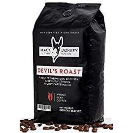 DEVIL'S ROAST 🔱 Extra-Strong Highly Caffeinated Bold Coffee 🔱 1KG Whole Coffee Beans 🔱 100% Premium Robusta by Black Donkey Coffee Roasters