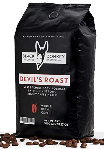 DEVIL'S ROAST  1KG Kaffeebohnen  Extrem Starker Kaffee  Stark Koffeinhaltiger Kaffee  100% Premium Robusta von Black Donkey Coffee Roasters