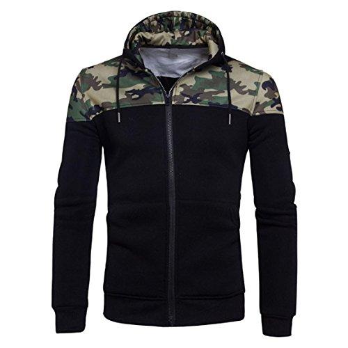 Tarnmantel für Herren,Moonuy Männer Junge Winter Baumwolle Camouflage Reißverschluss Hoodie Kapuzenpulli Mantel Jacke Mode Regelmäßige Outwear Charme Stilvolle Kleidung (Schwarz, S) (Jacke Jungen Jordan)