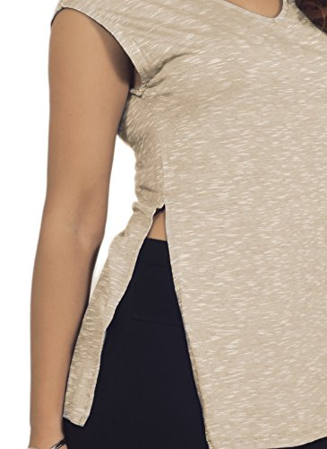 Shirt Léger Heather bouchon V-cou manches Femmes tricot extensible à double face Cereales