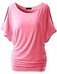 JEELINBORE Kurzarm Basic T-Shirts für Damen Rundhals Fledermausärmel-Shirt  Oberteil Sommer Crewneck Off Shoulder. a0ce45e8cc
