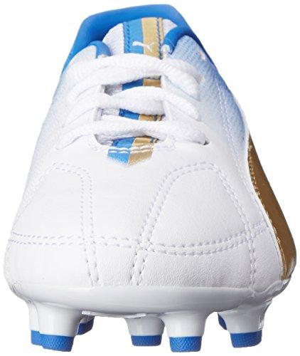 Puma MB 9 Firm Ground Jr Soccer Shoe (Infant/Toddler/Little Kid/Big Kid) White/Team Gold/Team Power Blue