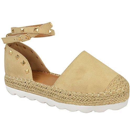 Sandales avec lanières - style espadrilles/rock - à clous/bride cheville - femme Faux suède couleur chair