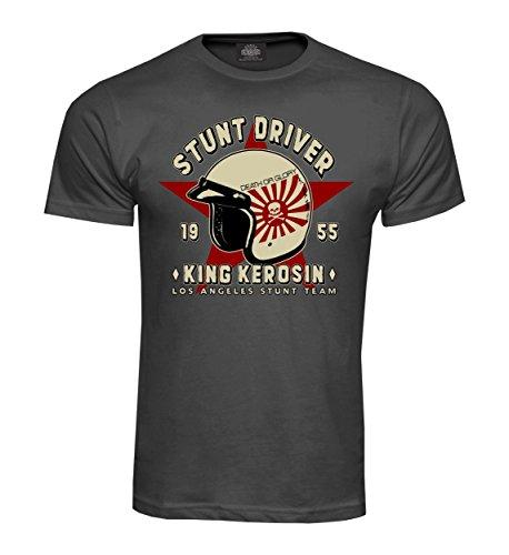 King Kerosin T-Shirt Stunt Driver 1955 Grau