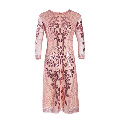 BHYDRY Damen Pailletten Kleid 1920er Jahre inspiriert Pailletten Perlen Lange Quaste Einsätze Kleid
