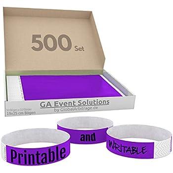 500 pezzi GA Event Solutions Braccialetti di identificazione Tyvek Porpora