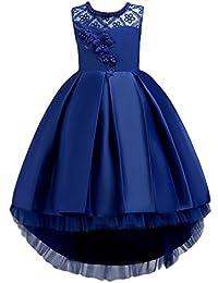 IWEMEK Vestido de niña de Flores para la Boda Princesa Vestidos de Dama De  Honor Sin Mangas Hi-Lo Fiesta Comunión Cumpleaños Bola… 9377d64b565e