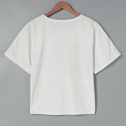 VENMO Womens Kurzarm Amerikanische Flagge Druck Kurz Tops Blusen-T-Shirt Hemd White