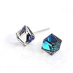 Idea Regalo - YAXUN Orecchini a lobo in argento 925 con cristallo blu acquamarina - Impressionante effetto luminoso - Ottimo regalo per le donne
