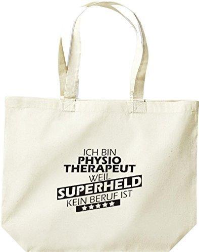 shirtstown grande borsa della spesa, SONO physiotherapeut, WEIL supereroe NESSUN lavoro è Naturale