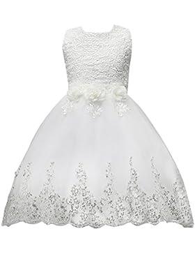 SMITHROAD Blumenmädchenkleid Mädchen Tüll Spitzen Kleid Ärmellos mit Watteau-falte Zug Pailletten Dekor Hochzeit
