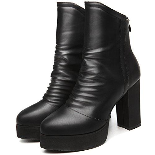 Damen Winter Einfache Aufzug Stiefeln Einfarbige Reißverschluss Dicke Sohle Plateauaufzug Blockabsatz Schuhe Schwarz