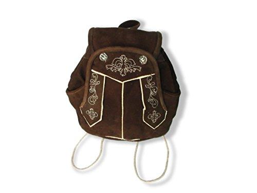 Echt Natur Trachten Lederrucksack Damen, Trachtenmode Tasche, Trachten Rucksack(Dunkel Braun) IK Leather