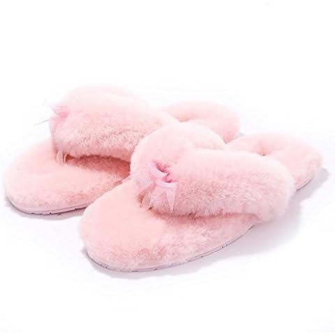 scarpe di moda/ calde a casa/ Appartamenti lana/Pelliccia di pecora infradito/ pelliccia scarpe/Pantofole