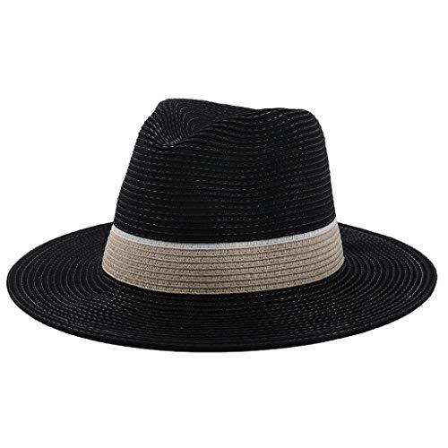 HHyyq Unisex Herren Jazz Cap Erwachsene Strandmütze Strohhut Sommersaison Panamahüte Damen Panamahut Sonnenhut Sommerhut Beach Hut Fischerhüte