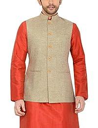 Manyavar Men's Banded Collar Cotton Jacket (WC00037)