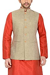 Manyavar Mens Banded Collar Cotton Jacket (8903035286017_WC00037-304_38_Beige)